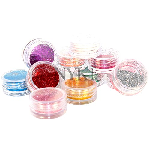 NYK1 12 x Highest Quality Craft and Nail Art Glitter Pots. COLOURED FINE DUST POWDER FOR ALL NAIL, FACE, BODY & HAIR DECORATION AND DESIGN for Shellac Gel Nails and Regular Nail Polish