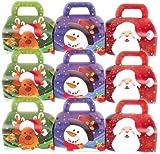 3 Geschenkboxen aus Pappe * WEIHNACHTEN * mit 3 verschiedenen Designs: Weihnachtsmann, Schneemann und Renntier // CONO // Party Kinder Mitgebsel Geschenktüten Tüten Adventskalender