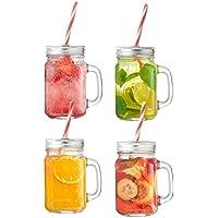 VonShef Mason Jar Glass Drinking Jam Jars Set of 4, 450ml Glasses WITH Reusable Straws, Twist Lids & Handles