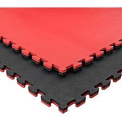 JOWY Lote 4 Unidades Esterilla Goma Espuma Tatami Puzzle | Tatami Suelo Gimnasio Ideal Artes Marciales 1 m x 1 m x 2,5 cm Rojo/Negro