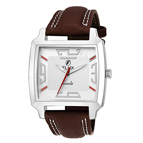 Flux Fashion Analog Brown Leather Strap White Dial Men's Watches WCH-FLUX279  available at amazon for Rs.299