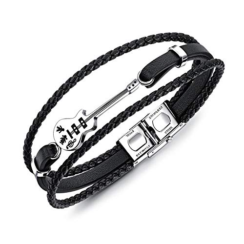 RAILONCH Kreative Mini-Gitarre kleine Accessoires Lederarmband Retro-Multi-Layer-Gewebe Armband schwarz Titan Stahl Seil Zubehör (Lederarmband Weißes Gitarre)