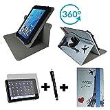 3er Starter Set für Aldi - MEDION LIFETAB X10302 MD 60347 Tablet PC Tasche + Stylus Pen + Schutzfolie - 10.1 Zoll Eifelturm Paris 360_