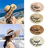 Frauen Strand Hut Floppy breite Krempe mit Kinnriemen faltbare Sommer Sonnenhut uv Schutz Reisen Stroh Kopfbedeckung - Kaffee