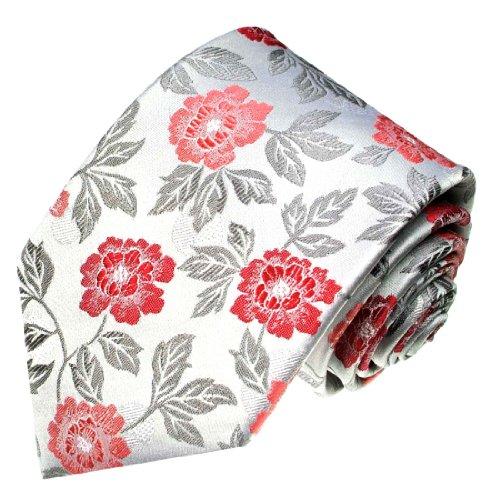 Lorenzo Cana - Designer Krawatte aus 100% Seide - Rot Silber Rosen Blumen Hochzeit Trauung - 84386 (Rosen Seide Rote)