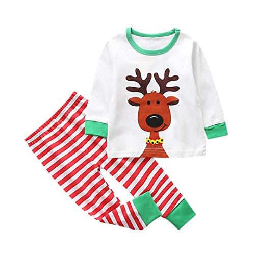 Hffan Kleinkind Kinder Kleine Junge Lange Ärmel Rundhals Weihnachtshirsche Weiß T-Shirt Tops + Lange Hose Set babymode Freizeit Kleider Freizeitbekleidung Trainingsanzug (12 Monate, Grün)