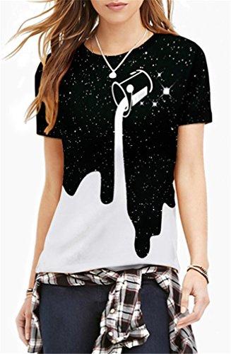 AMOMA Frauen Unisex Casual 3D-Printed T-Shirts Kurzarm-Oberseiten-T-Stücke Milk