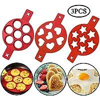 x3010 2020 Nuovo  x3011 Stampo in silicone antiaderente  Riutilizzabile Silicone Anello antiaderente per pancake Anello per uova Prepara rapidamente una torta per farti risparmiare tempo prezioso  3 pack