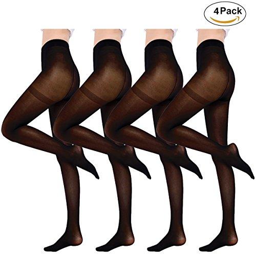 Cassiecy Damen Strumpfhosen 4 Paar Blickdicht Elastische Reißfest große Größen Strümpfe 50/80 DEN (Schwarz-50D)