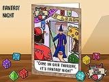 Geek Humour Grußkarte. Mit einem Fantasy RPG Parodie Thema.