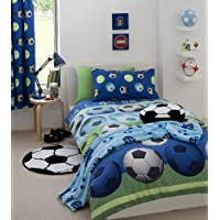 Football Double Duvet Cover & Pillowcase Bed Set Blue by Catherine Lansfield