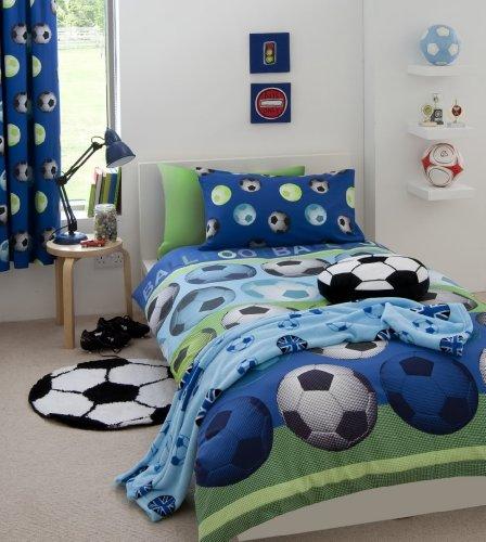 Homespace direct - set copripiumino e tende, per letto doppio, motivo: calcio, colore: blu