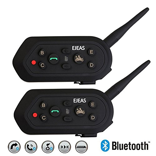 2 xESTGOUK E6 Bluetooth Motorrad Intercom Helm Communicator Headset,1300 m Reichweite 6-Fahrer Interphone,Unterstützung 2 Riders Full-Duplex Real-Time Kommunikation für Motorrad-Fahren, Skifahren