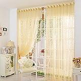 Tongshi Imprimir cortina de puerta de la flor de la gasa de la cortina del tabique ventana Habitación bufanda (Amarillo)