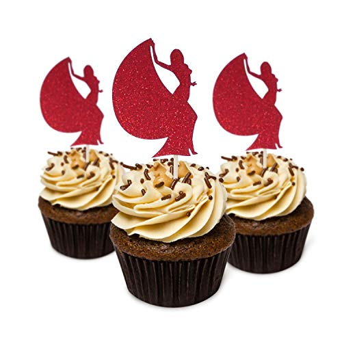 Bachelor Party Sexy Lady/Junggesellenabschied Party Cupcake Topper Karton Glitzer Farbe Rot 12 Stück Dekoration