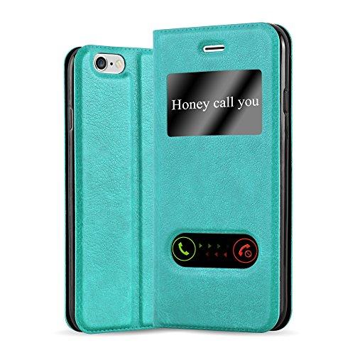 Cadorabo Hülle für Apple iPhone 6 / iPhone 6S - Hülle in Mint TÜRKIS - Handyhülle im Standfunktion & 2 Fenstern (View Design) - Case Cover Schutzhülle Etui Tasche Book Klapp Style