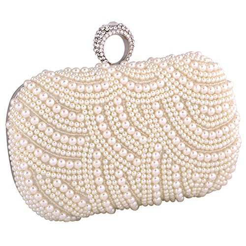 ERGEOB® Femmes Pochette sac de soirée Sac à main fait à la main Clutch Sacs Chapelet Diamant Boucle Anneau Sac mariée Sac de mariage blanc