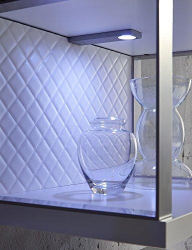 Design Mediencenter, Soft Close-Dämpfung, Wohngalerie Korpus Weiß Mattlack / Front Cappuccino Hochglanz - 3