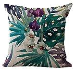 wuayi Vintage Blumen Tropische Blätter quadratisch dekorative Baumwolle Überwurf Kissenbezug für Zuhause Sofa Dekor, Baumwolle & Leinen, D, 45 x 45 cm