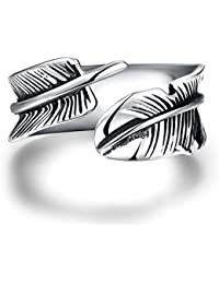 lureme® Maya Classical Stainless Steel Rings for Men Women Biker Ring Vintage Feather, Size 8-11(04001610)