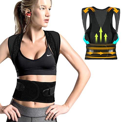 FYLINA Haltungskorrektur,Rücken Schulter Haltungstrainer,Verstellbar Atmungsaktiv Haltungstrainer Geradehalter Körperhaltung und Unterstützung für Damen und Herren (82-95cm) -