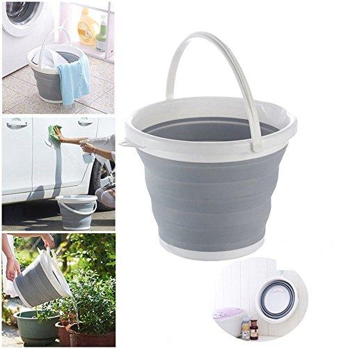 Yeshi - Cubo de agua portátil y plegable con asa, colgante de 3 l/5 l/10 l; ahorra espacio; para la pesca, estar al aire libre, acampadas, senderismo, el coche, el hogar o la oficina
