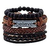 University Trendz Natural Stone Beads Inspirational Believe Words Metal Genuine Leather Bracelet