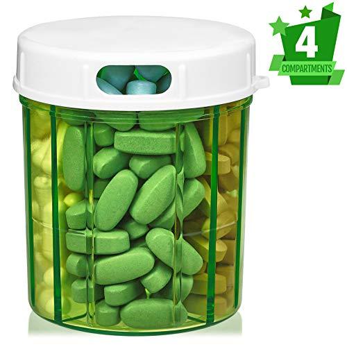 MEDca Dispensador de Pastillas con Cuatro compartimientos, para medicamentos, vitaminas y Suplementos. Botella Redonda