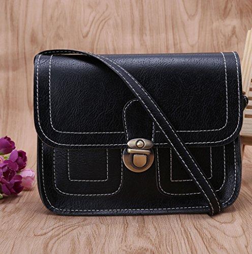 Dairyshop Borsa a tracolla in pelle di cuoio delle donne di modo Borsa del messaggero borsa del hobo Borsa della cartella (Nero) Nero