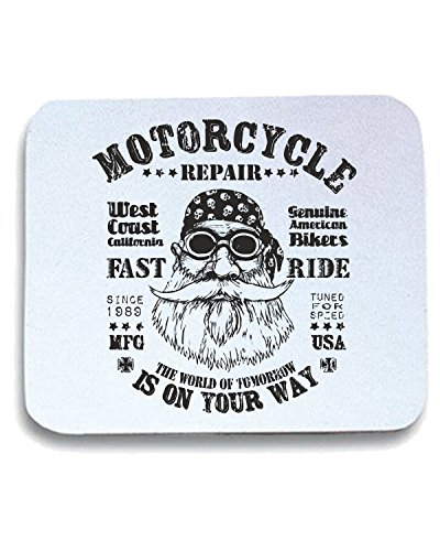 T-Shirtshock - Tappetino Mouse Pad TB0397 retro design motorcycle repair fast ride forwith bearded biker in, Taglia taglia unica