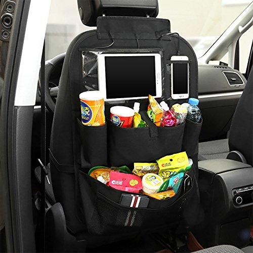 Autositz Organizer Lagerplatz - qianhai Spielzeug KFZ Autositzbezüge Auto Seat Pads, mit 1 Handy und Tablet Halter, 2 Becherhalter und große Aufbewahrungstasche mit USB Kabel für iOS Typ C Android