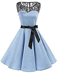 VJGOAL Mujer Primavera y Verano Moda Casual Sin Mangas Lunares Encaje Vintage Hepburn Columpio Cintura Alta
