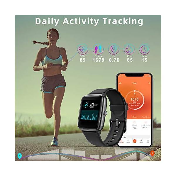 LIFEBEE Smartwatch, Reloj Inteligente Impermeable IP68 para Hombre Mujer niños, Pulsera de Actividad Inteligente con… 5