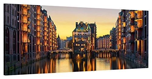 """ge-Bildet Leinwandbild zum Angebotspreis Stadtbilder Panorama """"Wasserschloss in der Speicherstadt - Hamburg"""" - 100x40 cm einteilig -11 D"""
