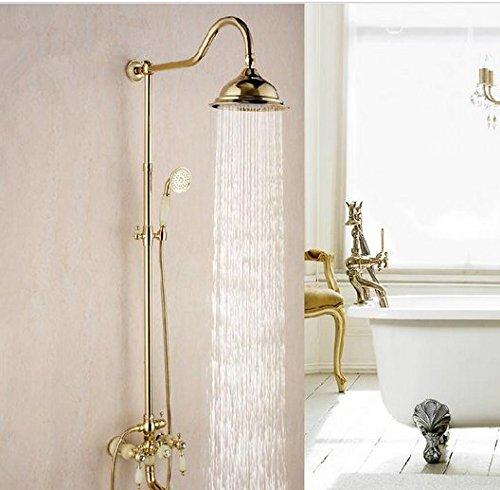 Burgund-gold-finish (Gowe Classic Jade Golden Messing Finish Wand montiert 20,3cm Regen Dusche & Handbrause Dusche Wasserhahn Set Farbe: burgund)