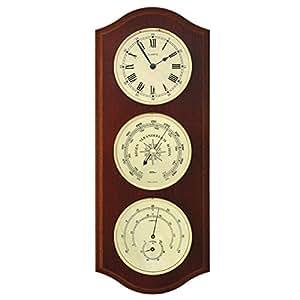 Station météo avec horloge à quartz, baromètre et thermo-hygromètre dans l'armoire d'acajou en bois véritable, 330 x 130 mm