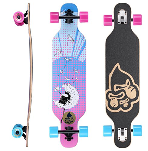 Star-Skateboards Premium Canadian Maple Drop Through Flush Cut Pro Longboard Skateboard für Kinder auch Anfänger ab ca. 6-8 Jahre ★ 65mm Kids Cruiser/Dancer Edition ★ Puff Ball Design