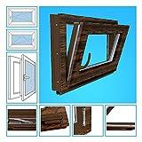 Kellerfenster Kunststoff Fenster Garagenfenster - 3-Fach Verglasung, BxH 60x40 cm, DIN rechts - Nussbaum Beidseitig