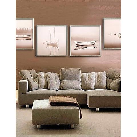 arte lienzo enmarcado, barco lago enmarcado lona de ajuste de impresión de 4