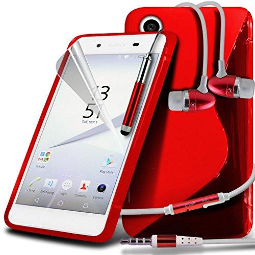 (Clear) Étui pour Apple iPhone 6s Case Survivor durable TPU Gel Clear Case Couverture de haute qualité de la peau + aluminium intra-auriculaires par i-Tronixs Wave Gel+ Earphones (Red )