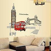 Wallpark Londres Puente de la Torre Calle Autobús Desmontable Pegatinas de Pared Etiqueta de la Pared, Sala Dormitorio Hogar Decorativas Adhesivas DIY Arte Murales
