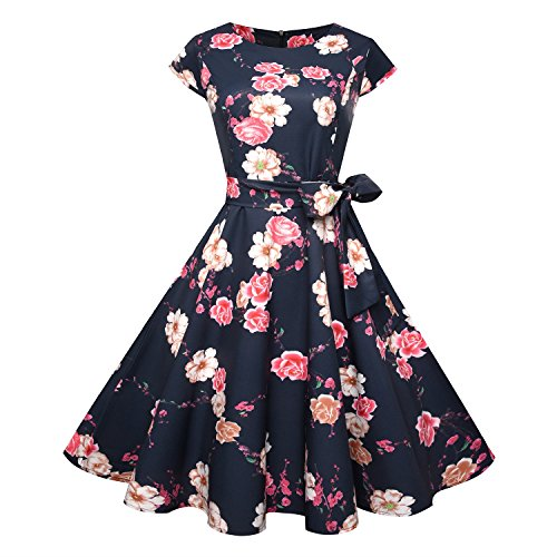 Frauenkleid Boatneck Cap Sleeve Vintage Rockabilly Blumenkleid Tee Kleid mit Gürtel Damen (Farbe : Schwarz, Size : XL) Boatneck Rock