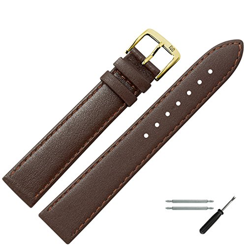 MARBURGER Uhrenarmband 18mm Leder Braun - Uhrband Set 7591831000220 Armani Uhr Herren Braun Leder