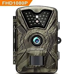 EARTHTREE Fotocamera de Caccia 14MP 1080P Fototrappola Infrarossi Invisibili Movimento Attivato 0.5s a Scatto Modalita' Notturna 65ft con 2.4 Pollici Schermo LCD Impermeabile IP66 Camera per la Caccia