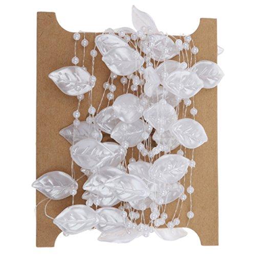 5m Perlen Blatt Perlen Kette Girlande Hochzeit Dekor-DIY Spitze Trimmt Weiß (Spitze Yds)