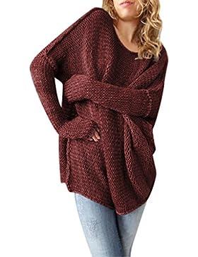 Suéter Jersey Largo Cuello Redondo Jerseys de Punto Mujer Sueter de Dama Sueteres Largos Prendas de Punto Sueters...