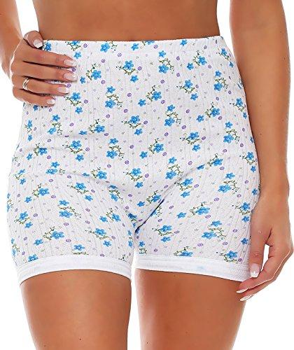 3er Pack Damen Slip mit Bein oder ohne Bein, weiß oder mit Blumen Muster (Schlüpfer, Unterhose) 438-444