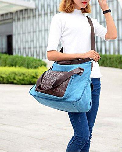 Damen Lässig Canvas Schultertasche Handtasche Blau Blau