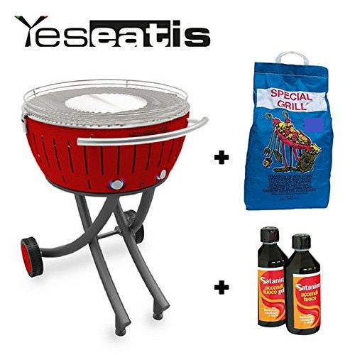 Lotusgrill XXL mit Raeder - Starter Kit BBQ mit 2Kg Carbobois Holzkohle und 500ml Feueranzuender Gel Satanino - Rot