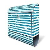 BANJADO Design Briefkasten mit Zeitungsfach, 2 Schlüssel, A4 Einwurf, silber pulverbeschichtet, mit Motiv Blaue Streifen